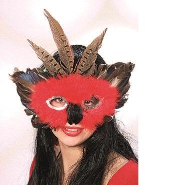 46001.00 Maske rot-braun m. silber