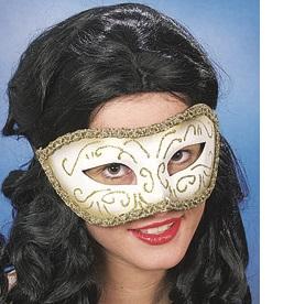 46036 Maske Venedig weiß gold